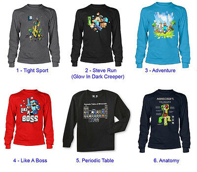 Authentic Minecraft Long Sleeve Youth Kid Shirt NEW Jinx