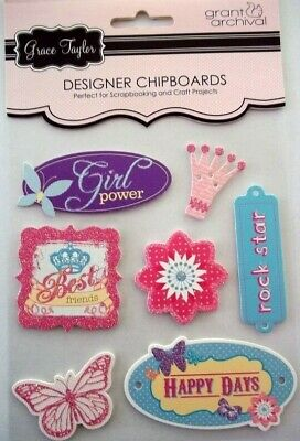 *GIRL POWER* Grace Taylor designer Chipboard Sticker Embellishments with glitter