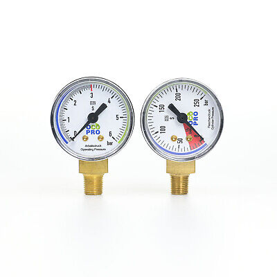 "CO2 Manometer-Set 0-10 bar & 0-250 bar für Druckminderer Gewinde 1/8"" Gauge"