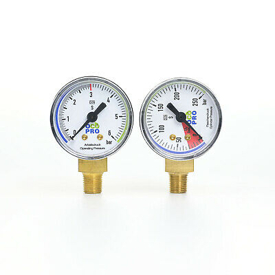 "CO2 Manometer-Set 0-6 bar & 0-250 bar für Druckminderer Gewinde 1/8"" Gauge"