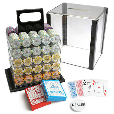 1000 Chips Poker Game Set Acrylic Case Aussie Currency 14g Chips Plastic Cards