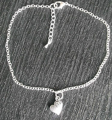 Silver plated ankle chain heart charm anklet ankle bracelet summer
