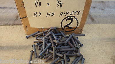 7 PAT  RIVETS  NOS STEAM 2.87mm  BOX 65 PACK OF 100 TINMAN HEAD TINNED STEEL NO