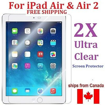 2X SCREEN PROTECTOR FOR iPad Air and iPad Air 2 - ULTRA CLEAR -  FREE SHIPPING