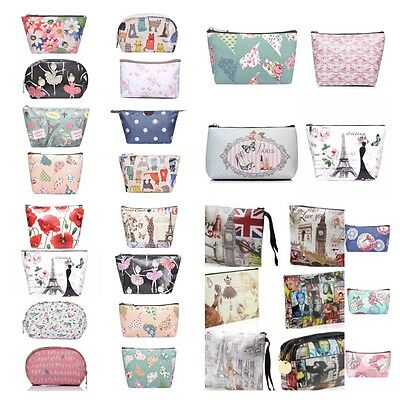 MAKEUP BAG VINTAGE PRINT POUCH COSMETIC TOILETRY Case Travel Bag Handbag make up