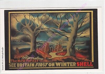 Cp Postcard Affiche Ads Shell Oil See Britain First On Winter Shell