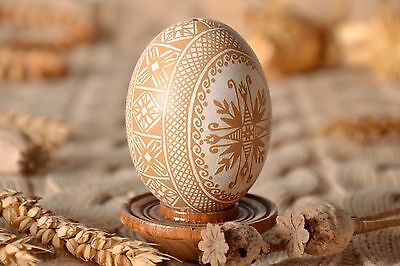 Handmade Easter Egg In Etching Technique Ethnic Patterned Pysanka Home Decor
