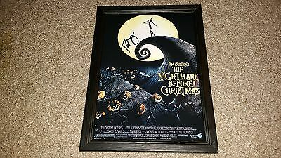 "The Nightmare Before Christmas Pp Signed Framed A4 12""x8"" Poster Tim Burton"