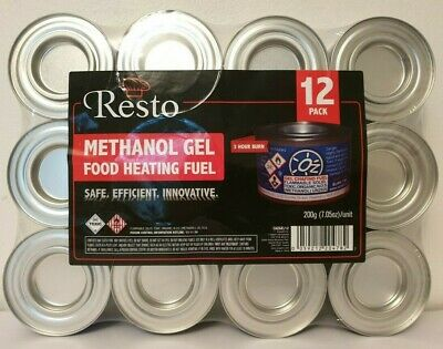 Resto Methanol Gel Food Heating Chafing Dish Fuel 12 Pack 3 Hour Burn Warmers