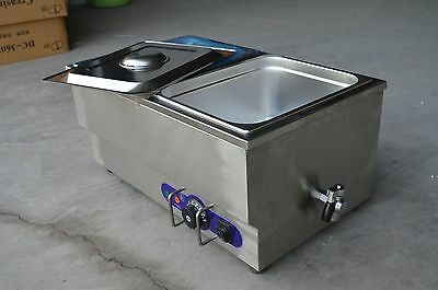 110V 2 Pan Commercial Buffet Bain-Marie Food Warmer Steam Table 1500W