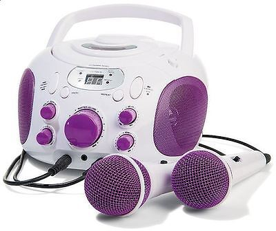 Purple Karaoke Machine & Portable CD Player System Microphone for Singing Party