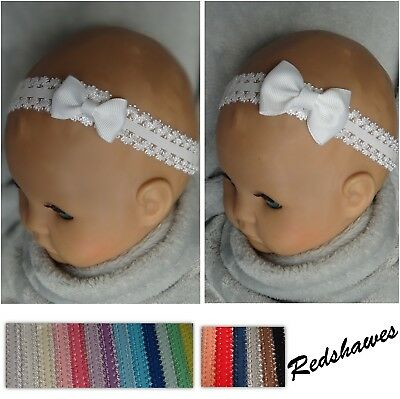 Single Bow on Double Frilled Lace Baby Headband- 13 colours options