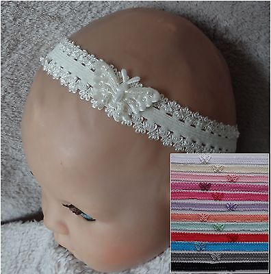 Beaded Butterfly on Double Frilled Lace Baby Headband- 13 colours options