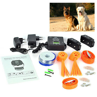 2 Dogs In-Ground Electric Dog Pet Fence Containment System W/ Shock Collars