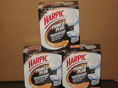 HARPIC POWER PLUS TABLETS, PACK OF 8, WORLDWIDE SHIPPING! x3