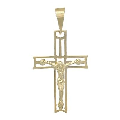 14k Yellow Gold Solid Cross Jesus Crucifix Religious Charm Pendant 2.4g