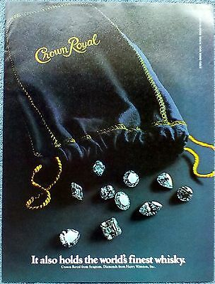 1981 Crown Royal Purple Bags Diamonds It Also Holds The Worlds Finest Whisky ad
