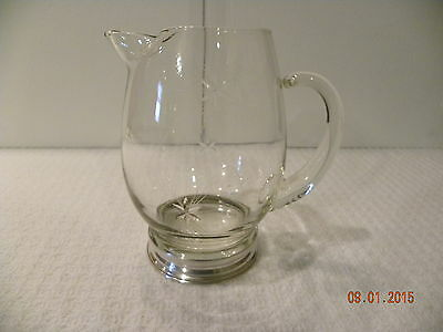 Beautiful Small Glass Pitcher with Silver Plated Bottom
