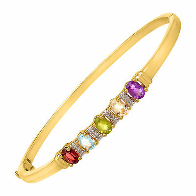 2 1/5 ct Natural Multi-Stone Bangle Bracelet with Diamond in 18K Gold over Brass