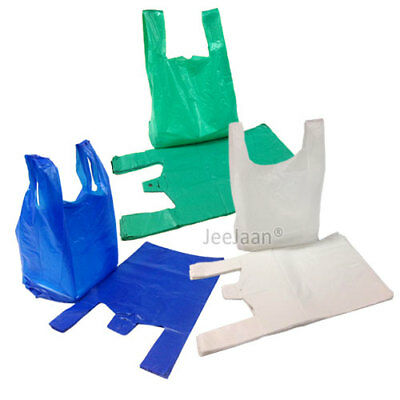 "Large White / Blue / Green Plastic Vest Carrier Bags 11""x17""x21"" 14mu 20mu"