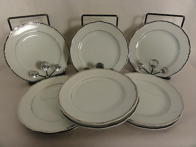 GILDHAR Renaissance white with silver trim 9 bread and butter plates 6 5/8 in