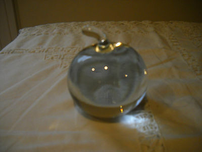 Authentic Tiffany and Co. Crystal Apple Glass Paperweight