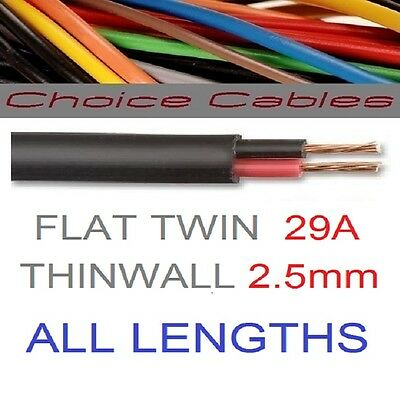 12v/24v AUTOMOTIVE 2 CORE FLAT TWIN THINWALL CABLE 2.5mm 29A TWIN CORE CAR WIRE