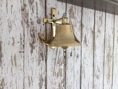 Brass Anchor Ship Bell w/ Bracket & Chain Lanyard ~ Nautical Maritime Wall Decor