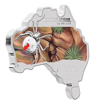 2015  Australian Map Shaped Coin Series Redback Spider 1oz Silver Proof Coin