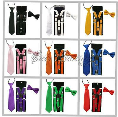 Candy Color Kids Toddler Clip-on Y-back Braces Suspenders Party Bow Tie Necktie