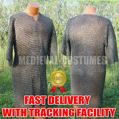 Flat Riveted with Flat Washer Chain Mail Shirt Medieval Chainmail Armor