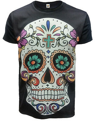 CANDY SKULL T-Shirt,Tattoo/Rock/Metal/Day Of Death/Mexican Skull/Goth/Top/Tee