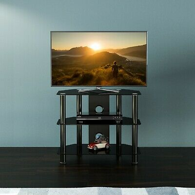 """Black Gloss Glass TV Stand Suitable For LCD LED TVs 20 25 32""""  - 60cm width"""