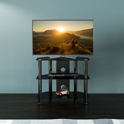 "Black Gloss Glass TV Stand Suitable For LCD LED TVs 20 25 32 40""  - 60cm width"