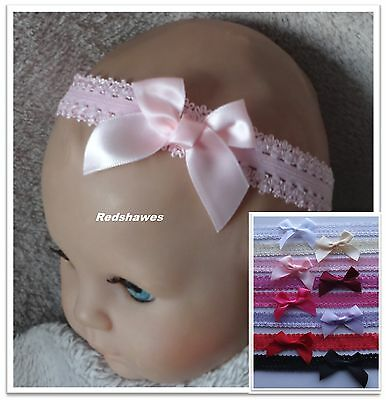 Satin Tied Bow (5cm) Baby Headband on frilled lace- different colour/sizes