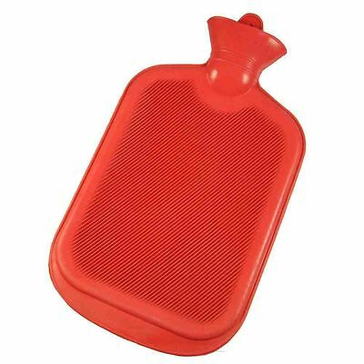 NEW 1L & 2L Litre Hot Water Bottle Bag Red Natural Rubber Warmer BS Approved