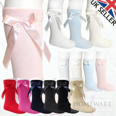 Girls Boys Knee High Spanish Socks Bow & Pom Pom Baby Kids Uk Shoe Size Pex Sale
