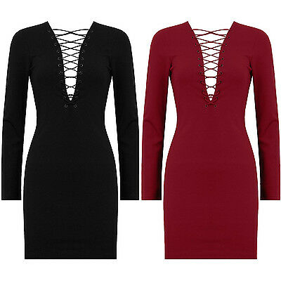 New Plunge Front Lace Tie Up Long Sleeve Stretch Bodycon Short Mini Celeb Dress