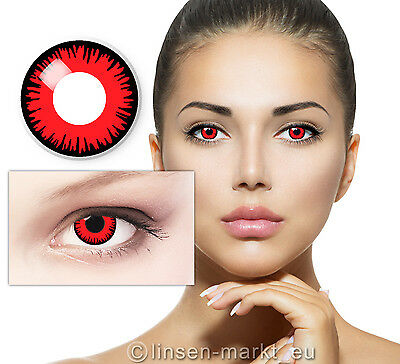 Crazy Farbige Halloween Fashing Kontaktlinsen Color Contact Lenses Red Lunatic !