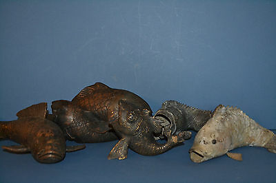 5 Rare Antique 19th Century Chinese or Japanese Bronze Koi Fish ,c 1820