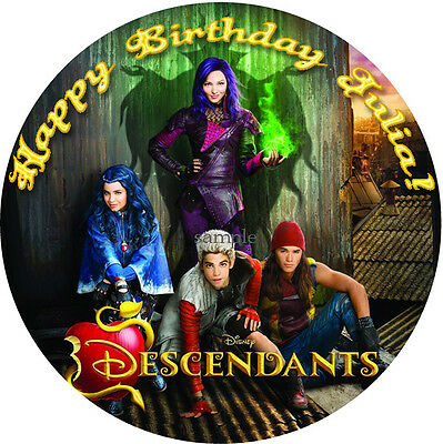 DESCENDANTS Round Edible CAKE Decoration Image ICING Topper Personalized Disney
