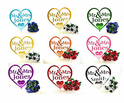 Personalised Mr and Mrs Wedding Cake Topper Keepsake Gift Range Of Colours Best