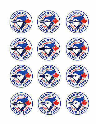 BLUEJAYS Edible CUPCAKE Toppers ICING Image(12)  FREE SHIPPING Toronto Jays