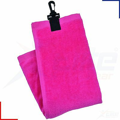 Longridge Luxury Golf Towel - 3 Fold Ladies Pink Shoe Ball Club Cleaner