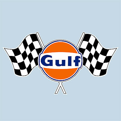 "GULF TWIN CHEQUERED FLAG LOGO STICKER 75 mm 3"" WIDE DECAL - OFFICIALLY LICENSED"