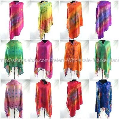 *US SELLER*bulk lot 10 shawl WHOLESALE PASHMINA SCARF RAINBOW stole wrap peacock