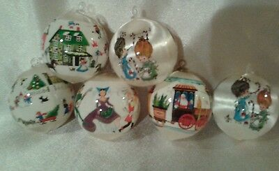 Vintage White Satin With Christmas Scenes Ornament Lot Of 6