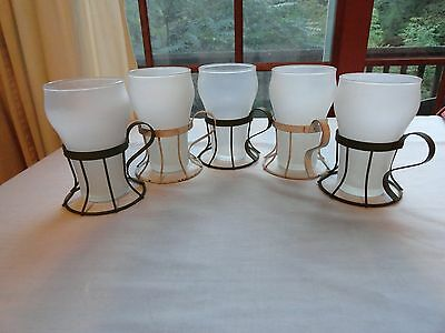 SET OF 5 VINTAGE FROSTED SODA FOUNTAIN GLASSES WITH METAL HOLDERS