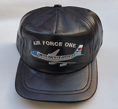 Leather Air Force One cap Dark Brown  (made in the usa)