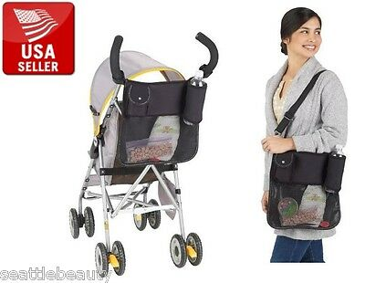 Baby Stroller Pram Black Nylon Bag Diaper Storage Organizer Pouch Multifunction